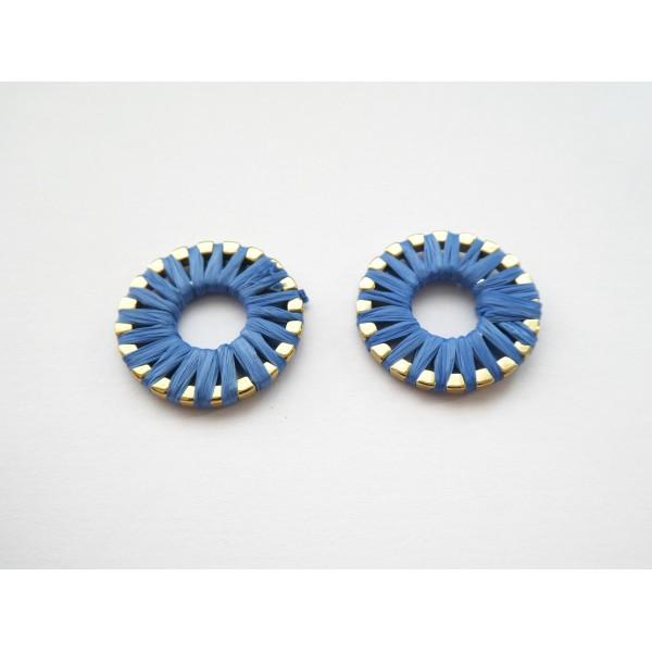 2 Breloques rondes 20mm en raphia Bleu - Photo n°1