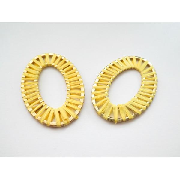 1 Grand pendentif Ovale 47*33mm en raphia Jaune - Photo n°1