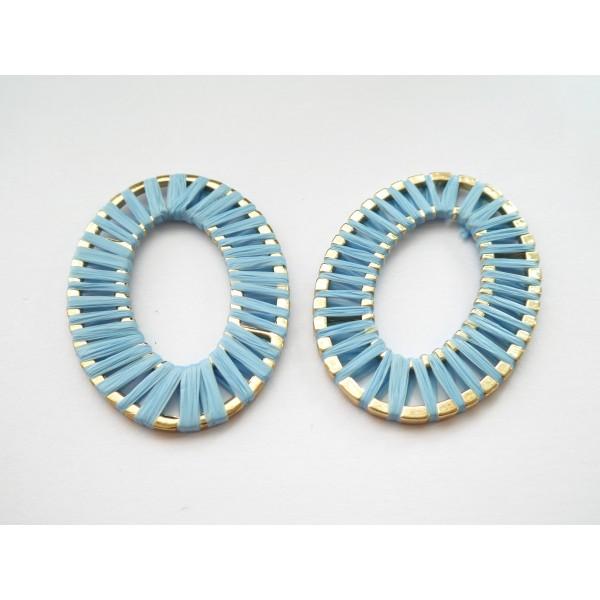 1 Grand pendentif Ovale 47*33mm en raphia Bleu - Photo n°1