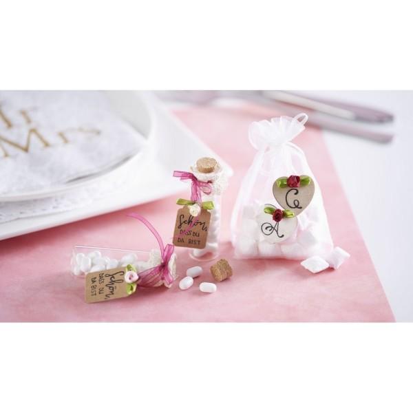 Lot de 4 Rubans Organza tons Rose, bordure brodée, largeur 3 mm, longueur 4 x 4 m, rouleau décoratif - Photo n°2