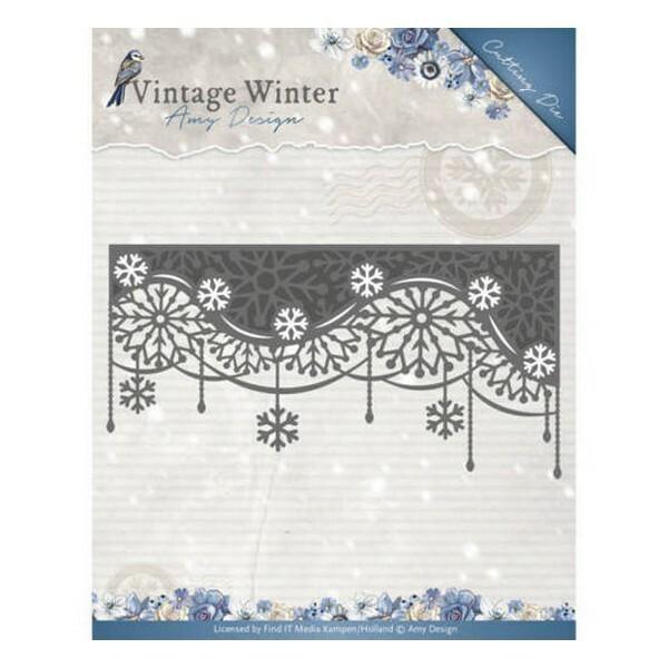 Die matrice de découpe embossage Amy Design Vintage Winter SNOWFLAKE SWIRL EDGE 10125 - Photo n°1
