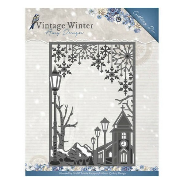 Die matrice de découpe embossage Amy Design Vintage Winter VILLAGE FRAME STRAIGHT 10121 - Photo n°1