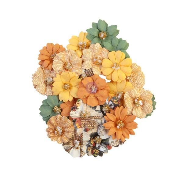 24 pièces fleurs  en papier scrapbooking décoration PRIMA MARKETING 653255 - Photo n°1