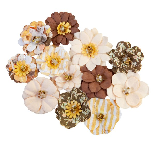 12 pièces fleurs  en papier scrapbooking décoration PRIMA MARKETING 650889 - Photo n°1