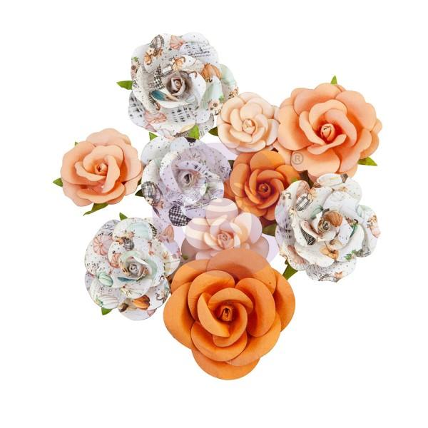 10 pièces fleurs  en papier scrapbooking décoration PRIMA MARKETING 648404 - Photo n°1