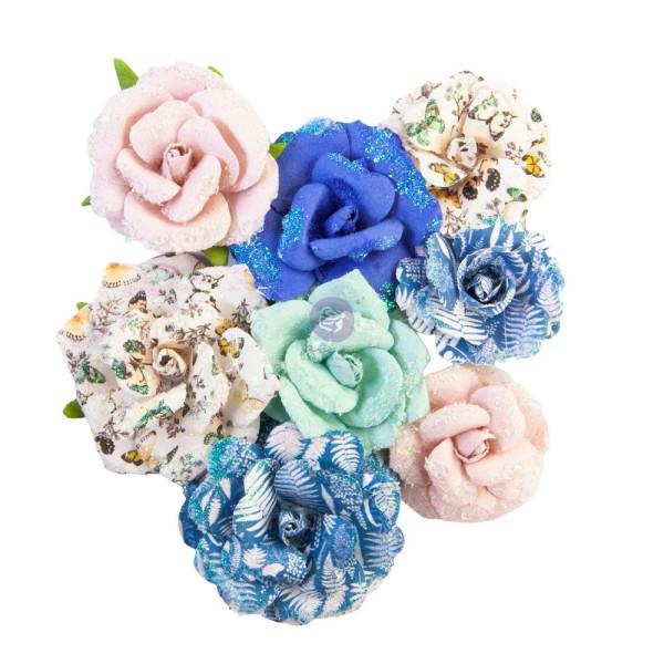 8 pièces fleurs  en papier scrapbooking décoration PRIMA MARKETING 653019 - Photo n°1