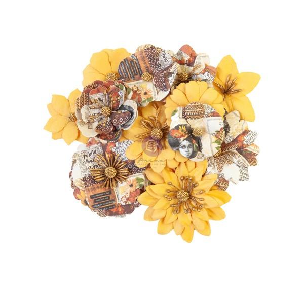 12 pièces fleurs  en papier scrapbooking décoration PRIMA MARKETING 653262 - Photo n°1