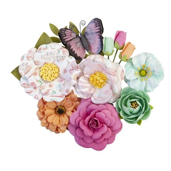 12 pièces fleur feuille papillon en papier scrapbooking décoration PRIMA MARKETING 647223 - Photo n°1