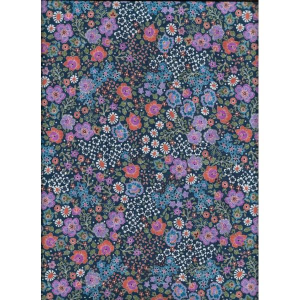 Pièce de Tissu Coton Fin Fleurs Dashwood par 20 cm/laize (20x148 cm) - Photo n°1