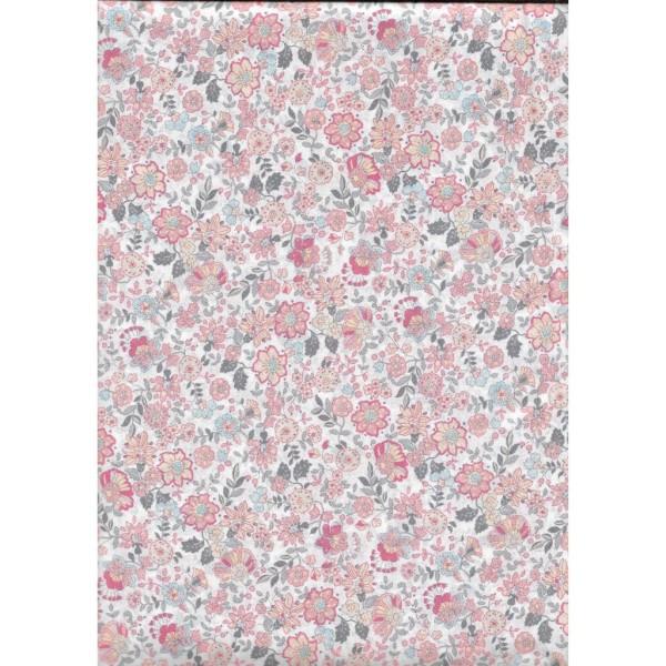 Tissu Voile de Coton Fleurs Corail Bio Gots par par 20 cm/laize (20x146 cm) - Photo n°1