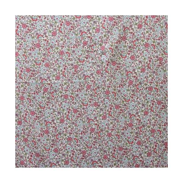 Tissu Voile de Coton Fleurs Bio Gots par par 20 cm/laize (20x146 cm) - Photo n°2