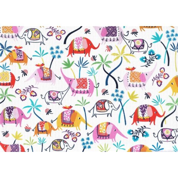 Pièce de Tissu Coupon Coton éléphants Asie Silk Road 45x54 cm DASHWOOD STUDIO - Photo n°1