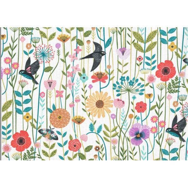 Pièce de Tissu Coupon Coton Oiseaux & Fleurs AVIARY 45x54 cm DASHWOOD STUDIO - Photo n°1