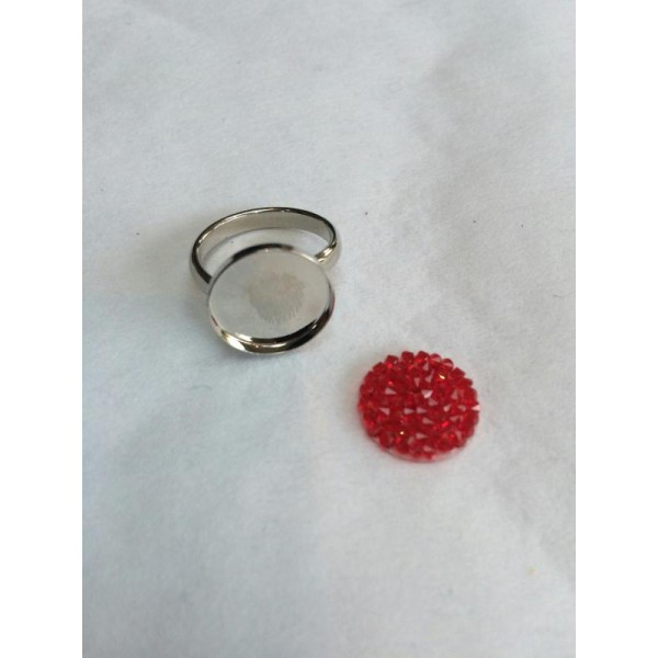 Kit DIY pour bague en cristaux Swarovski Crystal rock ronde rouge ...