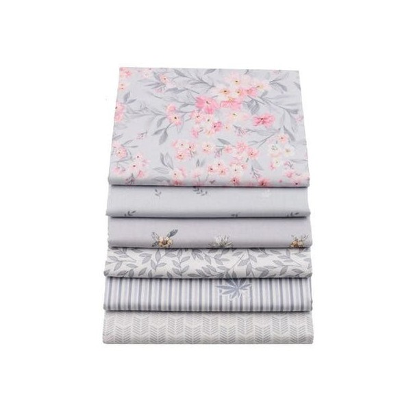6 coupons tissu patchwork coton couture 20 x 25 cm GRIS ROSE S - Photo n°1