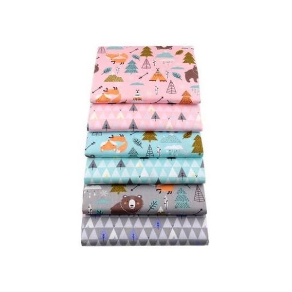 6 coupons tissu patchwork coton couture 20 x 25 cm ENFANT 75066 - Photo n°1