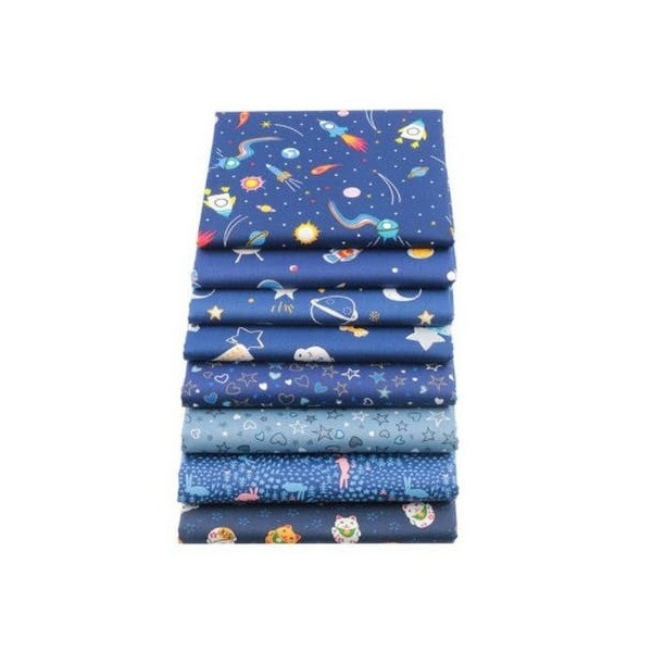 8 coupons tissu patchwork coton couture 20 x 25 cm  TONS BLEU 75078 - Photo n°1