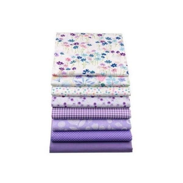 8 coupons tissu patchwork coton couture 20 x 25 cm  TONS MAUVE S - Photo n°1