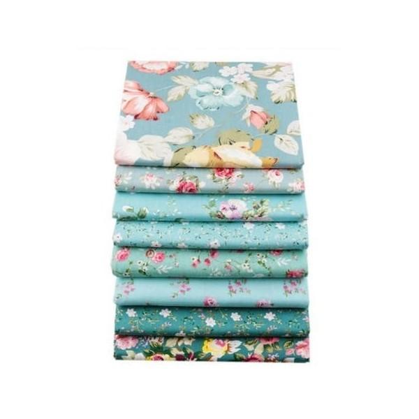 8 coupons tissu patchwork coton couture 20 x 25 cm  FLEURI 251608 - Photo n°1