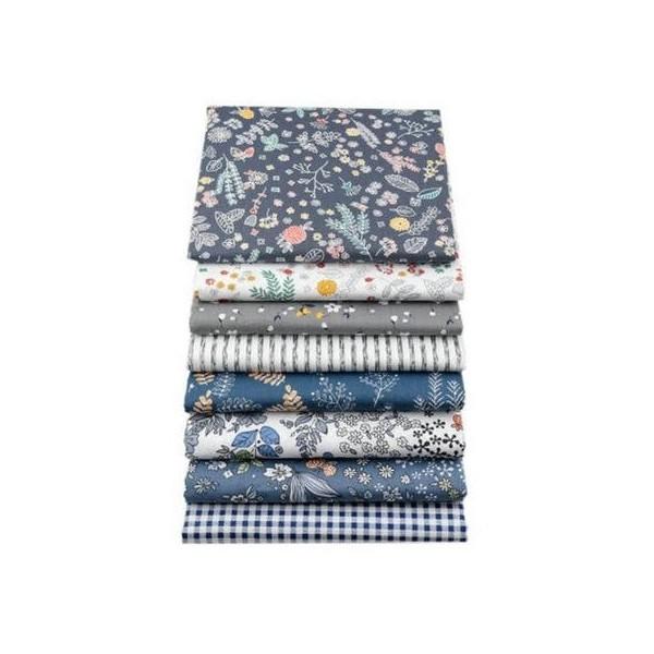 8 coupons tissu patchwork coton couture 20 x 25 cm  RAYURE VICHY FLEUR 251908 - Photo n°1