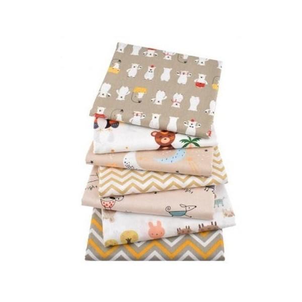 7 coupons tissu patchwork coton couture 40 x 50 cm  ENFANT TONS BEIGE - Photo n°1