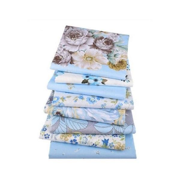 8 coupons tissu patchwork coton couture 40 x 50 cm  TONS BLEU 4300 - Photo n°1