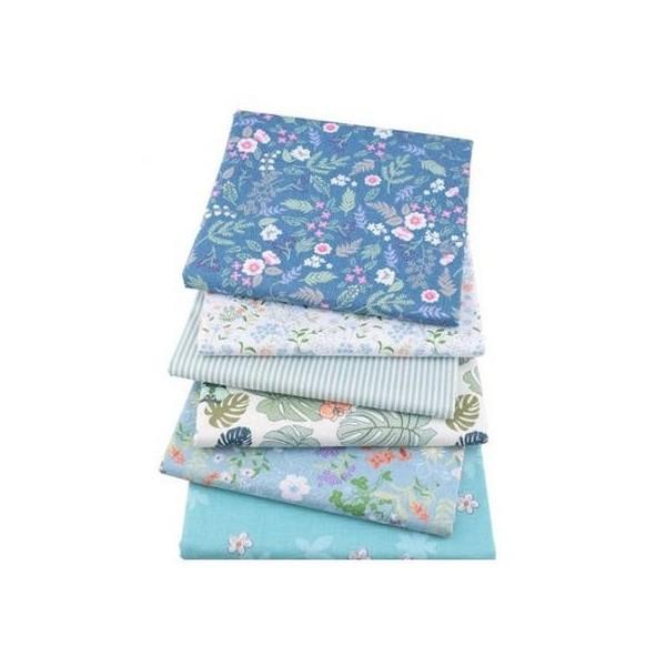 6 coupons tissu patchwork coton couture 40 x 50 cm  FLEURI BLEU 75506 - Photo n°1