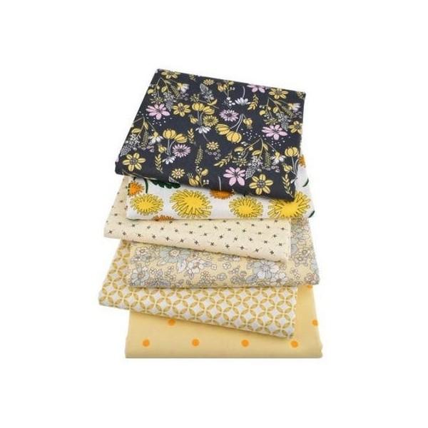 6 coupons tissu patchwork coton couture 40 x 50 cm  TONS JAUNE NOIR 75406 - Photo n°1