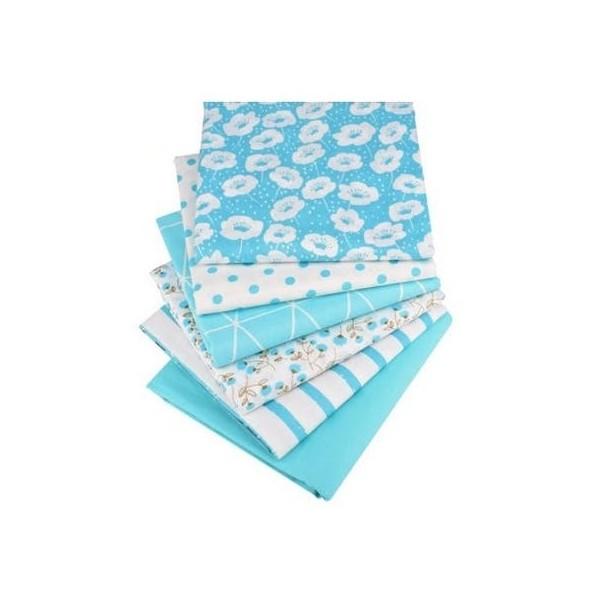 6 coupons tissu patchwork coton couture 40 x 50 cm  TONS BLEU 75006 - Photo n°1