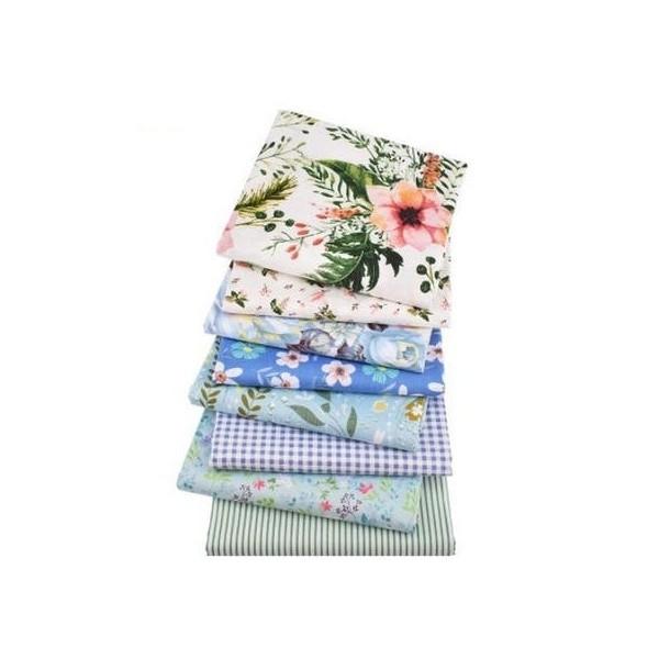 8 coupons tissu patchwork coton couture 40 x 50 cm  FLEUR VICHY RAYURE 75108 - Photo n°1