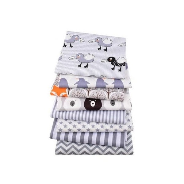 8 coupons tissu patchwork coton couture 40 x 50 cm  ENFANT TONS GRIS 75208 - Photo n°1