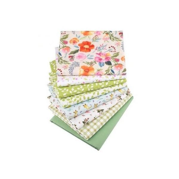 8 coupons tissu patchwork coton couture 40 x 50 cm  FLEUR FEUILLE CARREAUX 75606 - Photo n°1