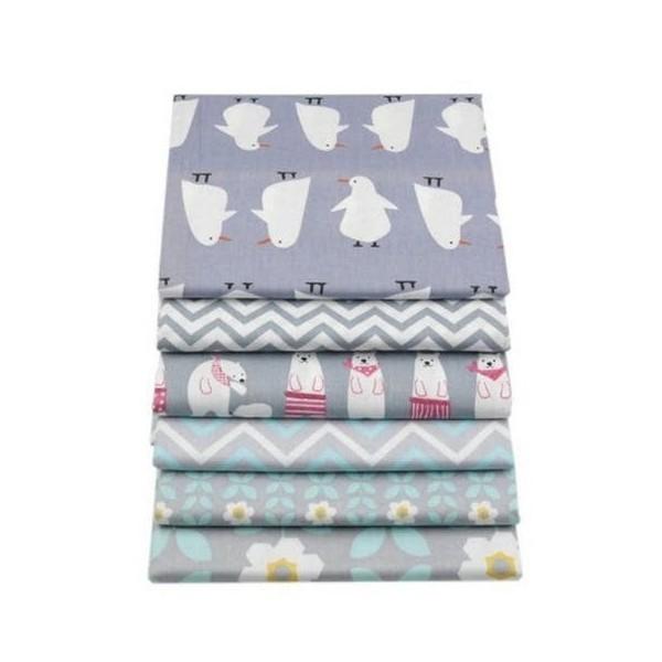 6 coupons tissu patchwork coton couture 20 x 25 cm FLEUR OURS MANCHOT S - Photo n°1