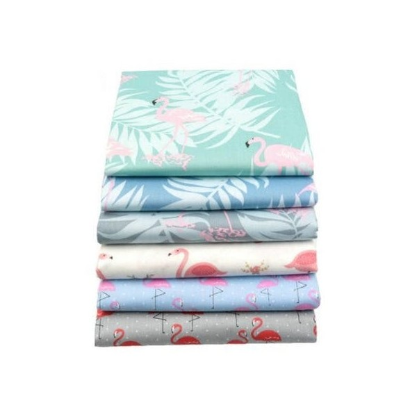6 coupons tissu patchwork coton couture 20 x 25 cm FLAMAND ROSE 75046 - Photo n°1