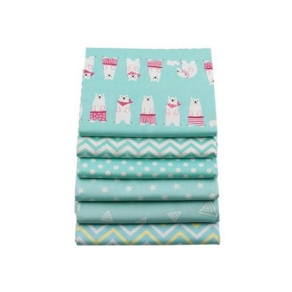 6 coupons tissu patchwork coton couture 20 x 25 cm TON BLEU 75036 - Photo n°1
