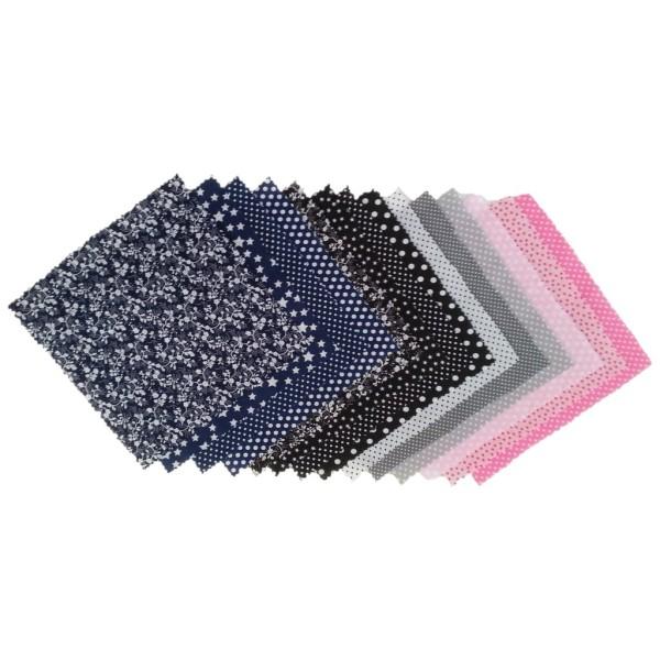 14 Pièces Coupons de Tissu Coton 21x21 cm pour Couture Patchwork Scrapbooking BGNR - Photo n°1