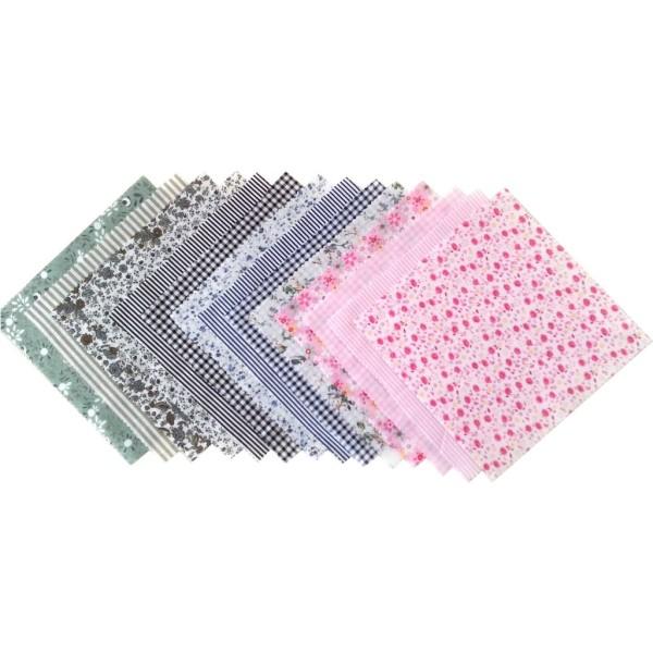 14 Pièces Coupons de Tissu Coton 21x21 cm pour Couture Patchwork Scrapbooking BNRMV - Photo n°1