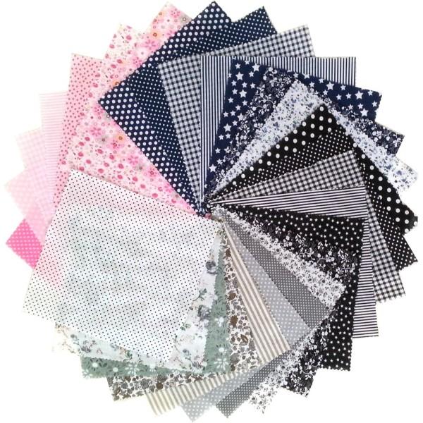 28 Pièces Coupons de Tissu Coton 21x21 cm pour Couture Patchwork Scrapbooking BGNRMV - Photo n°1
