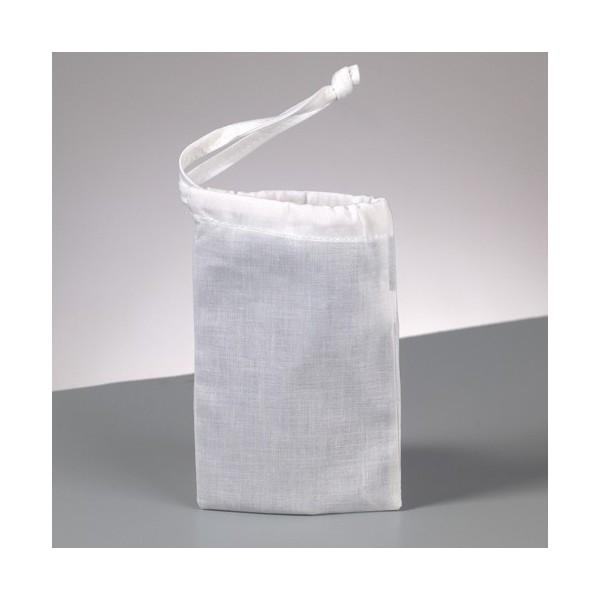 Lot 10 Pochons en coton blanc, 15 x 10 cm, Petits sacs avec liens de serrage, 105gr/m² - Photo n°2