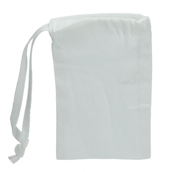 Lot 10 Pochons en coton blanc, 15 x 10 cm, Petits sacs avec liens de serrage, 105gr/m² - Photo n°1