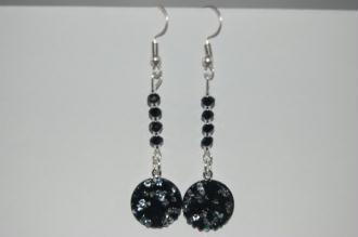 Kit DIY 1 paire de boucles d'oreilles Swarovski, perles facette noir et argenté - miyuki