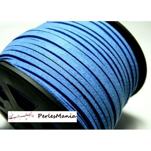 PG0030Y Lot de 5 mètres de cordon en suédine aspect daim Bleu Indigo - Photo n°1