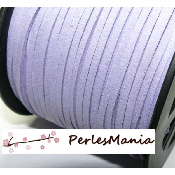 PG152 Lot de 5 mètres de cordon en suédine aspect daim coloris LAVANDE - Photo n°1