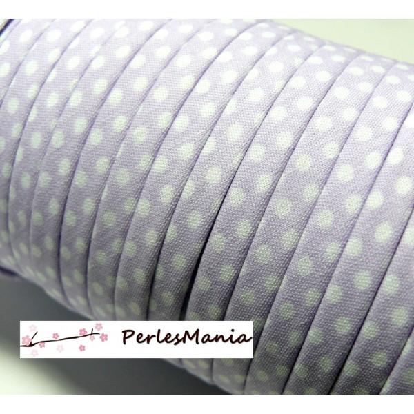 Lot de 2 m ruban biais spaghetti à pois Lilas 7mm ref: 70480-68 mercerie cordon pour bijoux - Photo n°1
