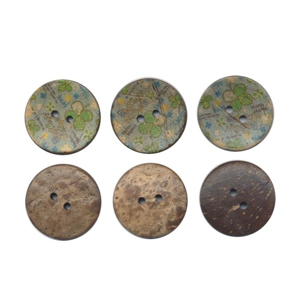 3 boutons en bois de coco 30 mm Trèfles pour Scrapbooking ou Couture - Photo n°1
