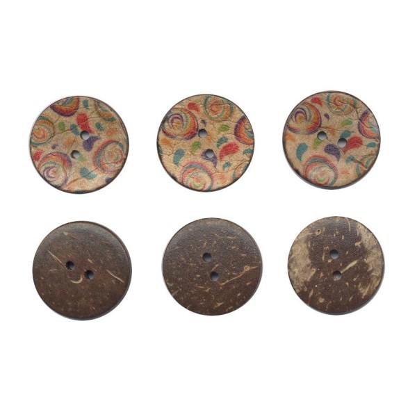 3 boutons en bois de coco 25 mm colorés pour Scrapbooking ou Couture - Photo n°1