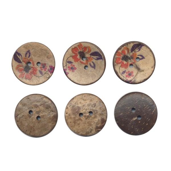 3 boutons en bois de coco 30 mm Fleur pour Scrapbooking ou Couture - Photo n°1