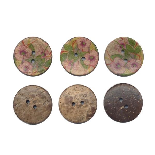 3 boutons en bois de coco 30 mm Fleurs pour Scrapbooking ou Couture - Photo n°1