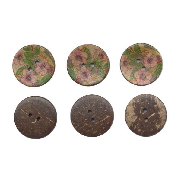 3 boutons en bois de coco 25 mm Fleurs pour Scrapbooking ou Couture - Photo n°1
