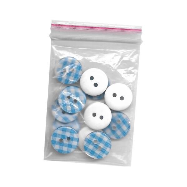 12 boutons en résine Vichy bleu clair 13 mm pour Scrapbooking ou Couture - Photo n°2
